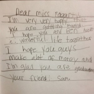 A sweet, sweet note from one of my second graders!