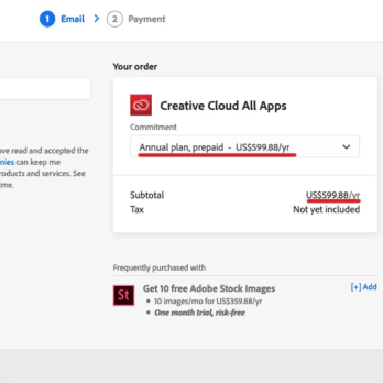 Adobe creative cloud Regular Price