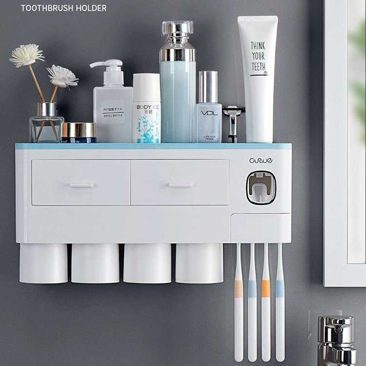 Auto Toothpaste Dispenser and Bathroom Storage Rack