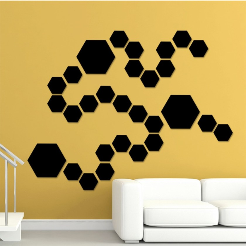 Hexagon Mirror Wall Sticker (12 pieces)