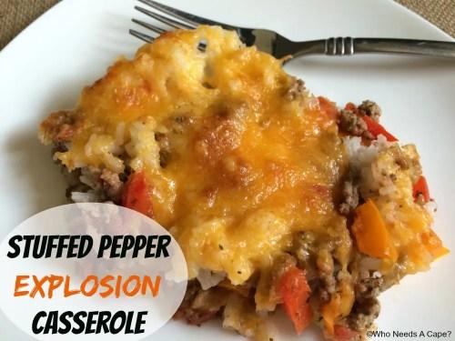 Stuffed Pepper Explosion Casserole | Who Needs A Cape?