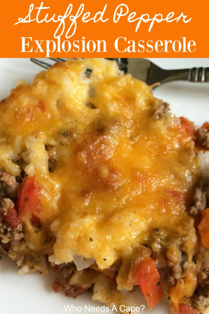 Like stuffed peppers but not all the fuss? Make this easy Stuffed Pepper Explosion Casserole, all the great flavors of the traditional dish, but so easy.