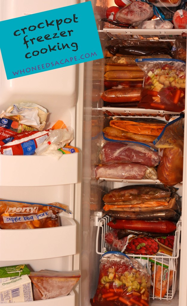 freezer full of crockpot freezer meals