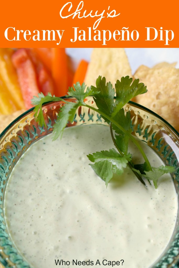 bowl of copycat chuy's creamy jalapeno dip cilantro garnish