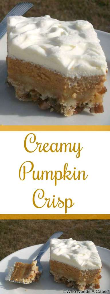 Creamy Pumpkin Crisp is a delicious dessert alternative to traditional pumpkin pie. Serve for Thanksgiving, Christmas or both, your guests will love it.
