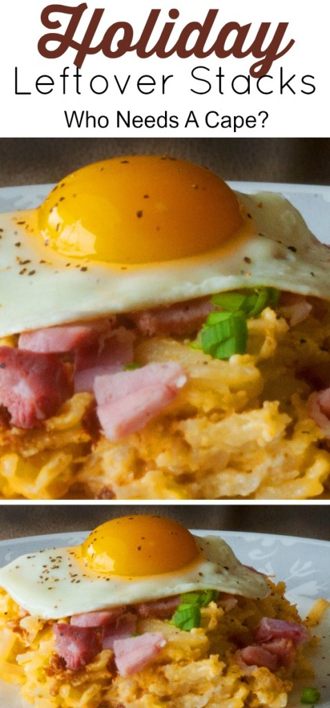Holiday Leftover Stacks: Hash Brown Casserole, Ham and Eggs is the perfect way to use up all the deliciousness of holiday dinner for a lovely breakfast.