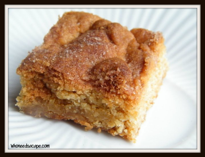 Snickerdoodle Bars have the same awesome taste as the classic cookie, but in bar form. You may want to bake 2 pans, they are delicious!