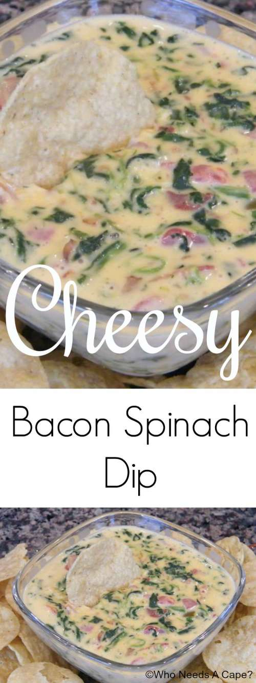 Cheesy Bacon Spinach Dip is always a huge hit at gatherings! Easy to throw together, delicious to eat, you'll be glad you found this recipe!