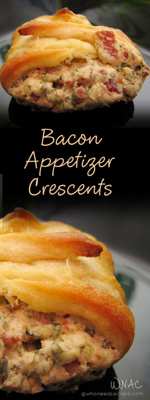 Bacon Appetizer Crescents are little bites of deliciousness! Serve them for tailgating, holiday parties or with a glass of wine – they are always a hit!