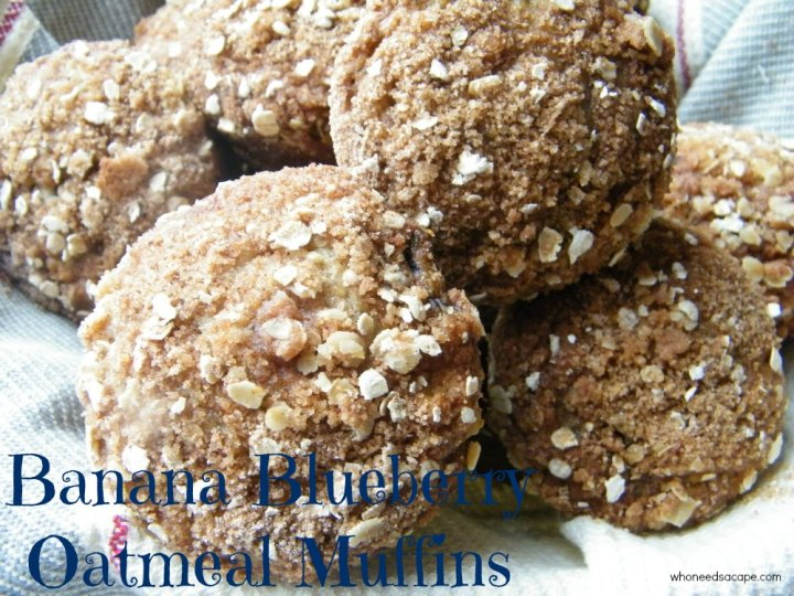 Banana Blueberry Oatmeal Muffins a great breakfast treat or snack. Loads of fruity flavor, make a batch and you'll have a new family favorite.