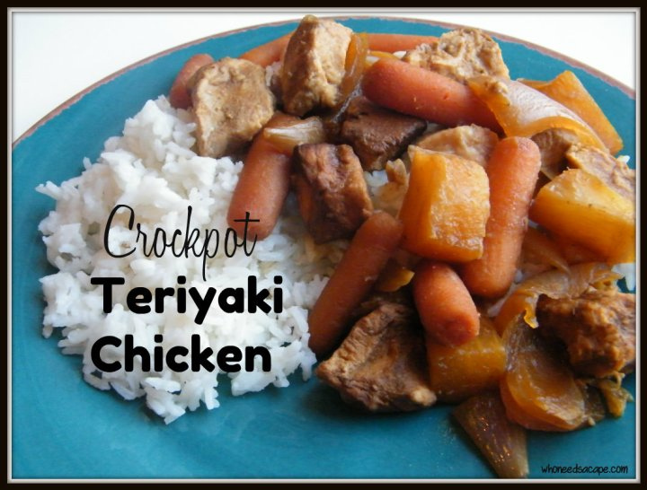 Crockpot Teriyaki Chicken, the perfect blend of sweet and tangy. Tender chicken, carrots, onions and pineapple, serve over rice and dinner is done.