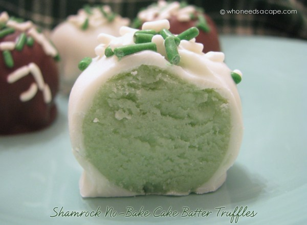 Shamrock No Bake Cake Batter Truffles | Who Needs A Cape?