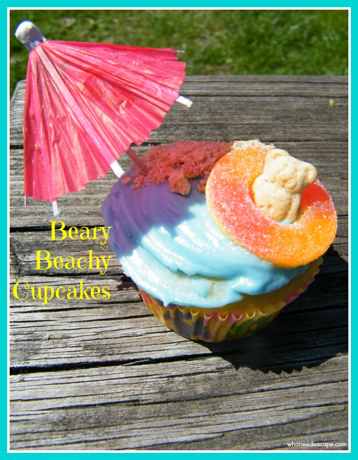 Beary Beachy Cupcakes are the perfect treat for summer or water themed birthday parties. Easy to make, kids just love them!
