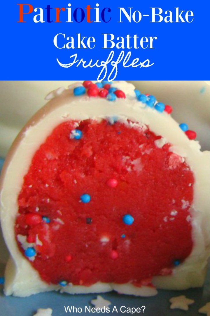 Patriotic No-Bake Cake Batter Truffles
