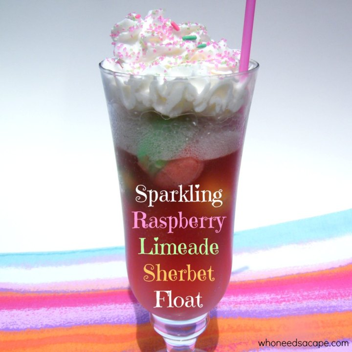 Sparkling Raspberry Limeade Sherbet Floats are a fun and tasty treat. Serve this dessert any time of the year for a cold treat.