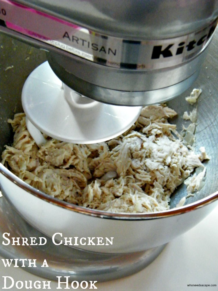 Such a simple way to make dinner prep that much easier. Shred Chicken with a Dough Hook after cooking for a variety of recipes and meals.