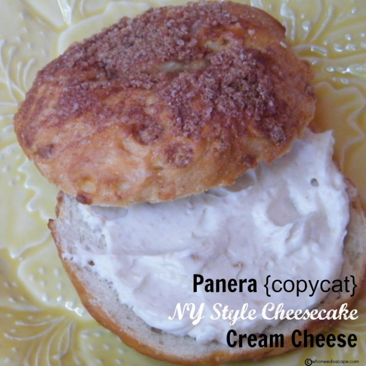 Panera {copycat} NY Style Cheesecake Cream Cheese is deliciousness on a bagel! Sweet & decadent this stuff is the perfect spread!