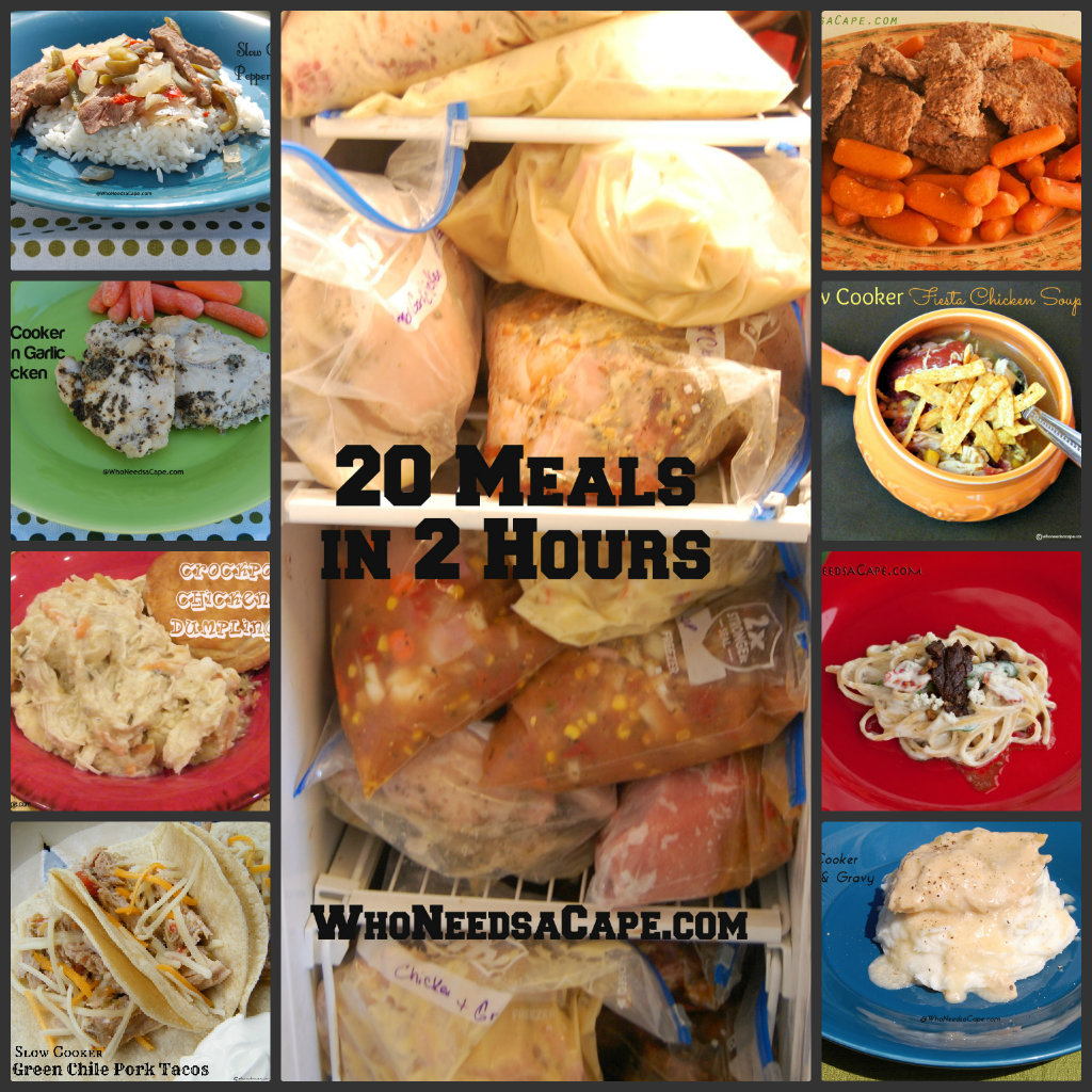 Make 20 meals in 2 hours and store in your freezer. They will be ready to pop into the slow cooker! No more worries about what's for dinner!