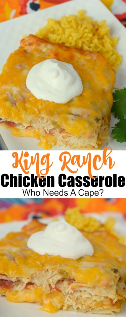 King Ranch Chicken Casserole is pure comfort food! Loads of cheesy chicken, tortilla strips, and deliciousness blend together in this awesome meal.