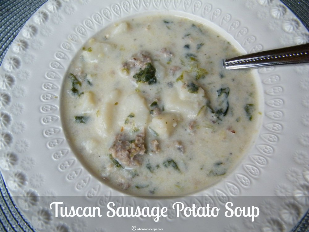 Tuscan Sausage Potato Soup is a fast meal that will leave your family satisfied. Serve alongside a crusty chunk of bread and dinner is served!