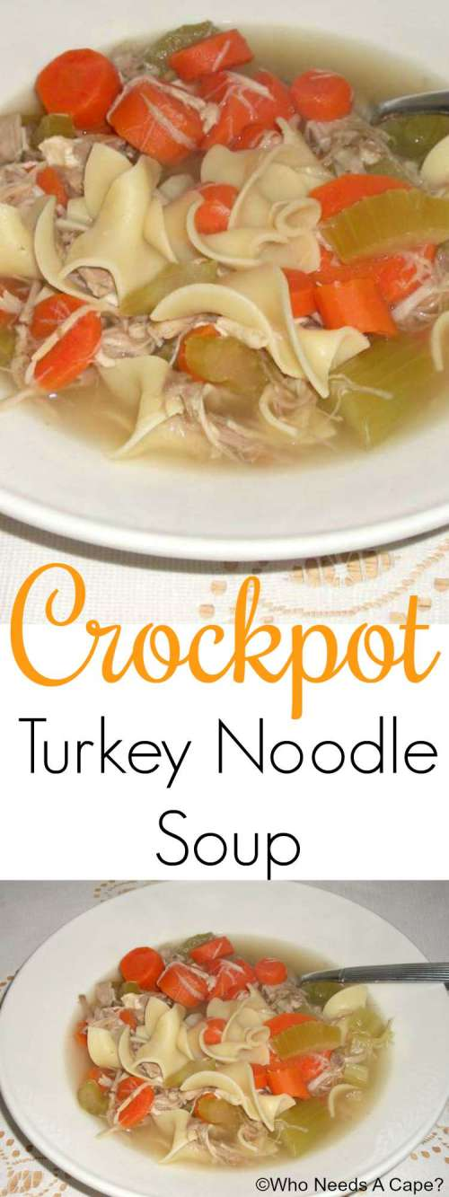 Crockpot Turkey Noodle Soup is the perfect way to use up that leftover turkey on Thanksgiving. Delicious flavors slow cooked to perfection.