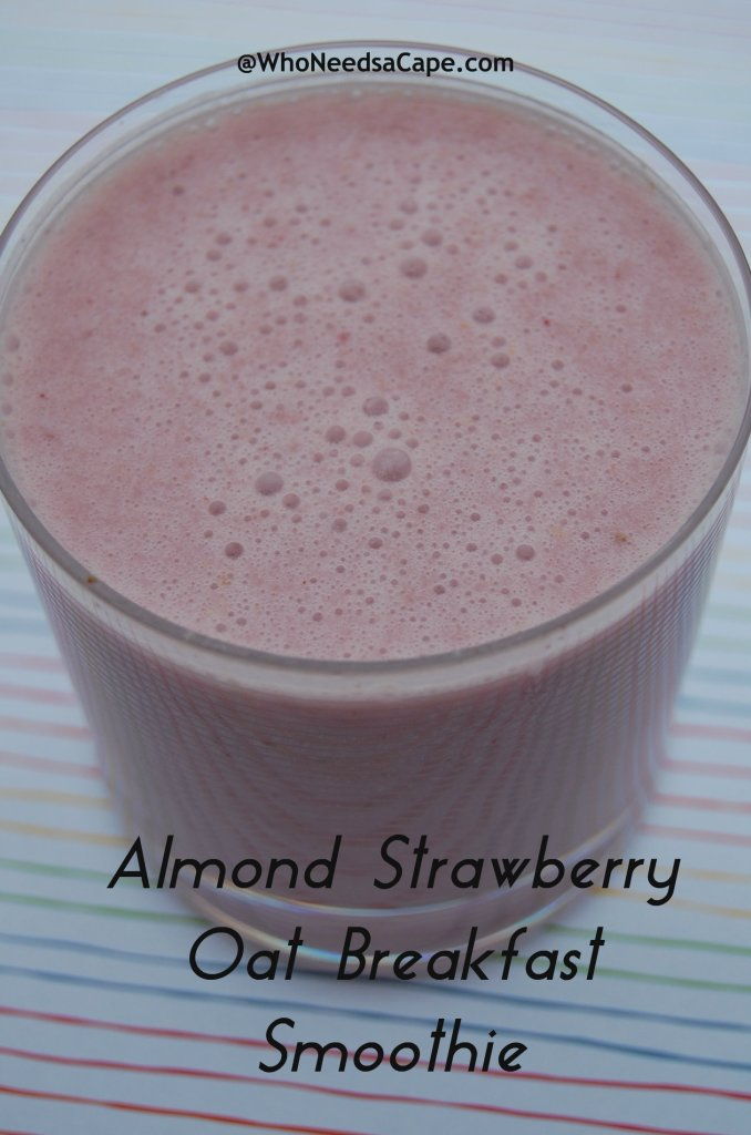 Breakfast on the go can be delish! Make this Almond Strawberry Oat Breakfast Smoothie and take it with you. Nutritious and delicious.