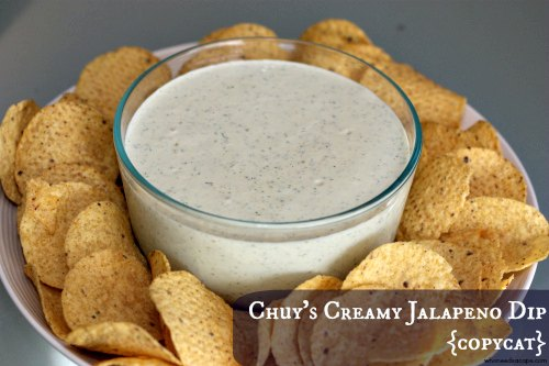 {copycat} Chuy's Creamy Jalapeno Dip Recipe just like the restaurant but you can enjoy this at home! Awesome for parties!