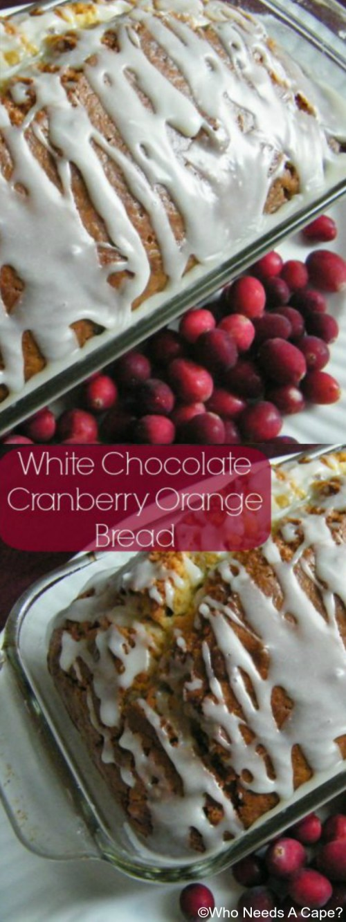 White Chocolate Cranberry Orange Bread bakes up nicely with a cake-like texture and sweetness. The cranberries pop in just a tiny punch of tart!