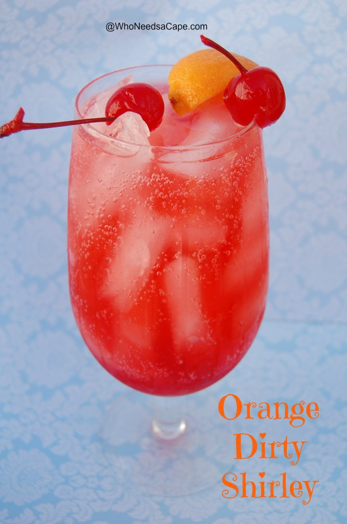 Make this Orange Dirty Shirley cocktail today - light and refreshing with all the flavors of a Shirley Temple you loved as a kid!