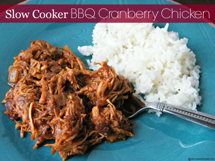 Slow Cooker BBQ Cranberry Chicken | Who Needs A Cape?