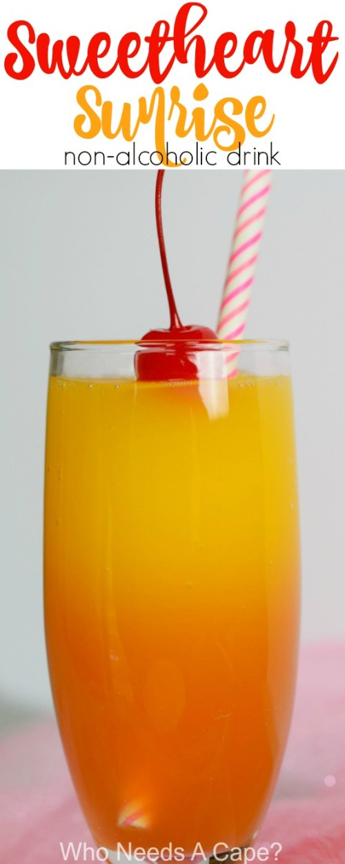 Make your sweetie a Sweetheart Sunrise {non-alcoholic} Drink! Perfect for Valentine's Day, great beverage for the entire family!