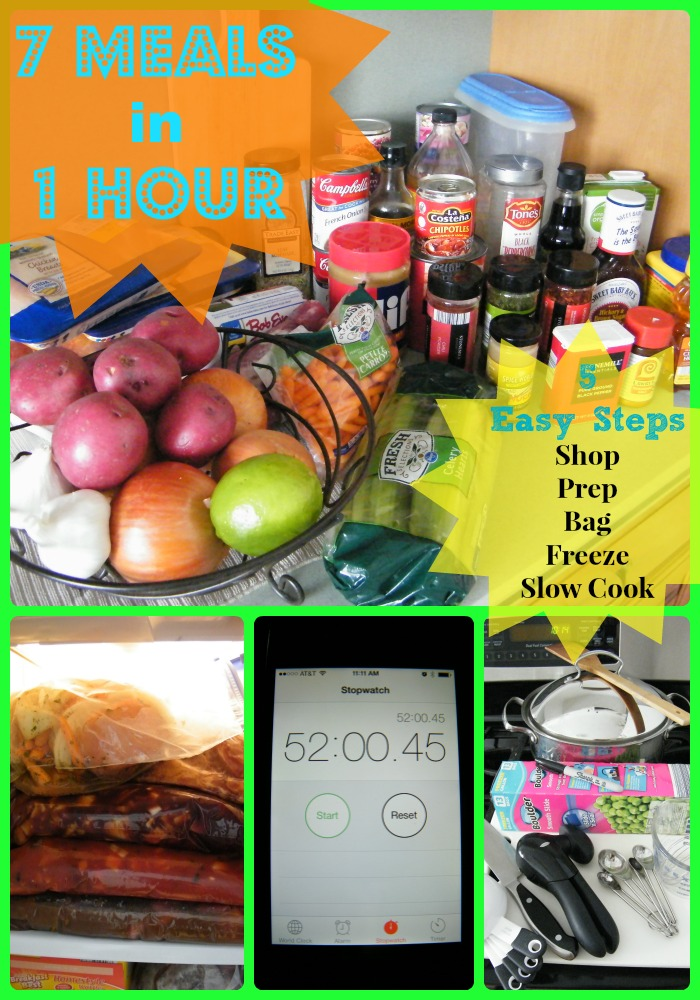 7 Meals in 1 Hour Crockpot Freezer Cooking Shopping List. Complete list of ingredients needed for 7 slow cooker meals that will save you time and money.