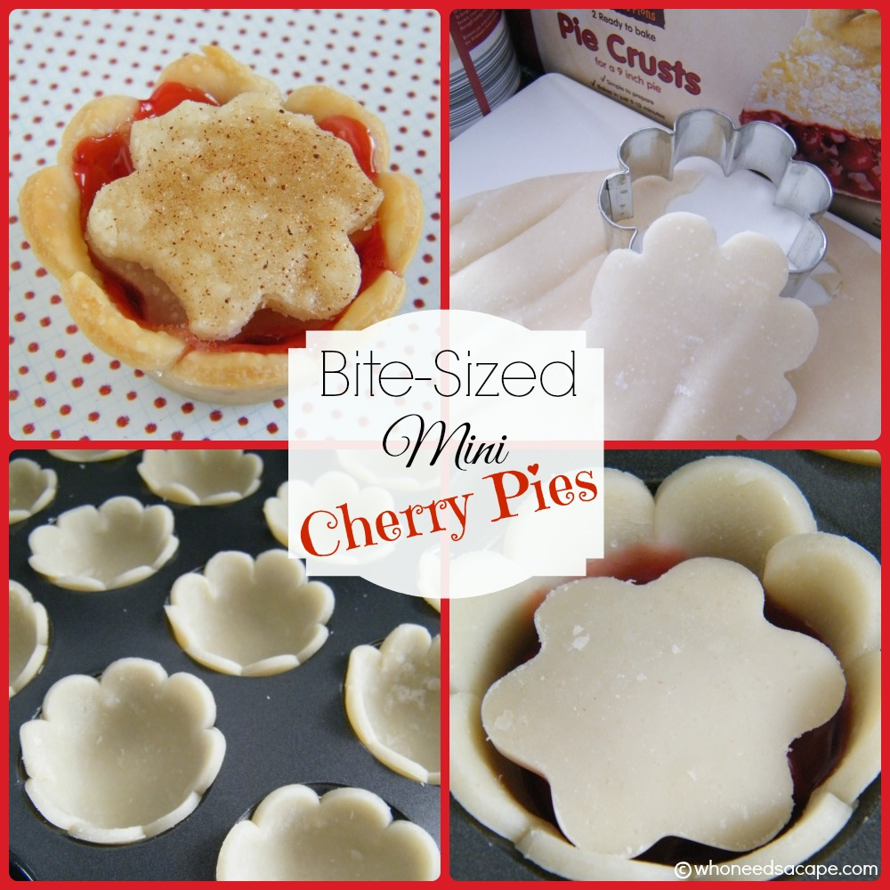 Bite-Sized Mini Cherry Pies what could be more delish?  Easy to prepare, fun to eat and it'll satisfy your sweet tooth too!