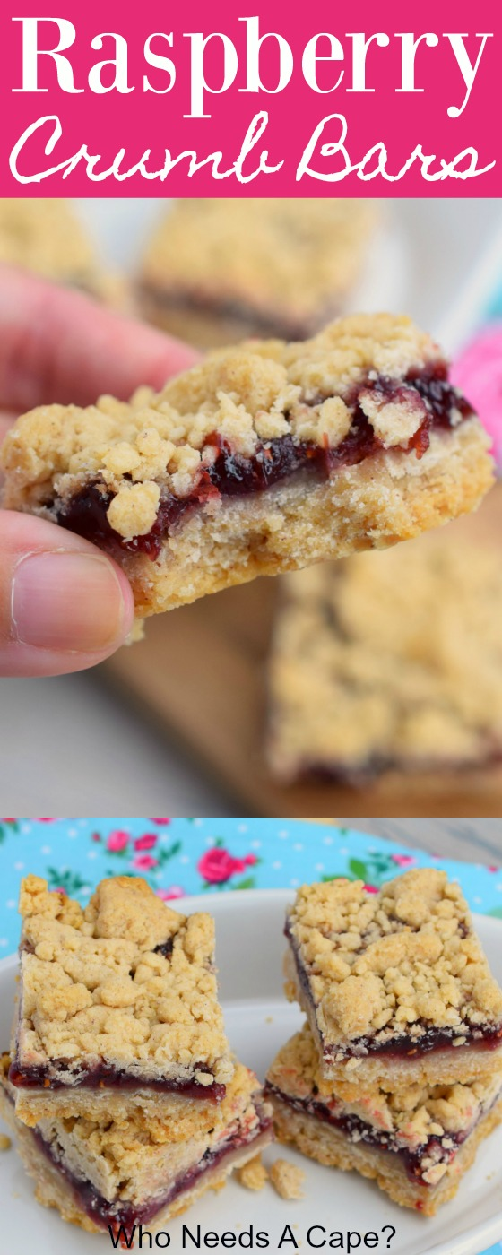 Raspberry Crumb Bars are a bit sweet and tart at the same time. The butter crumbs and the raspberries complement each other so well in this easy to make dessert!