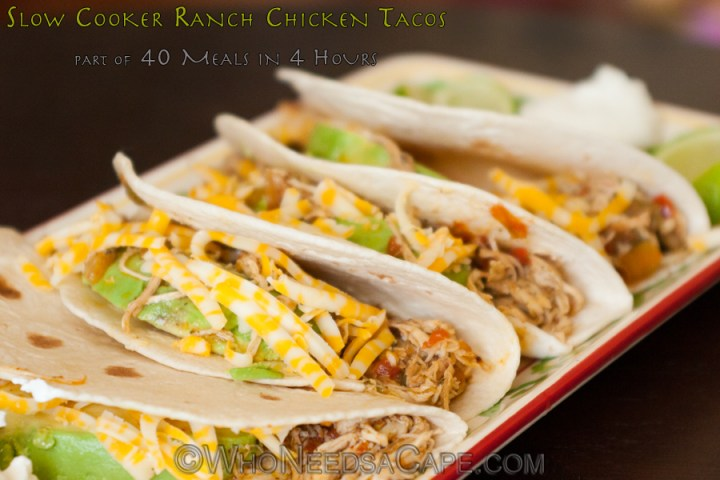 Slow Cooker Ranch Chicken Tacos is part of our 40 meals in 4 hours and is a great family meal that can be made in advance for a delicious dinner.