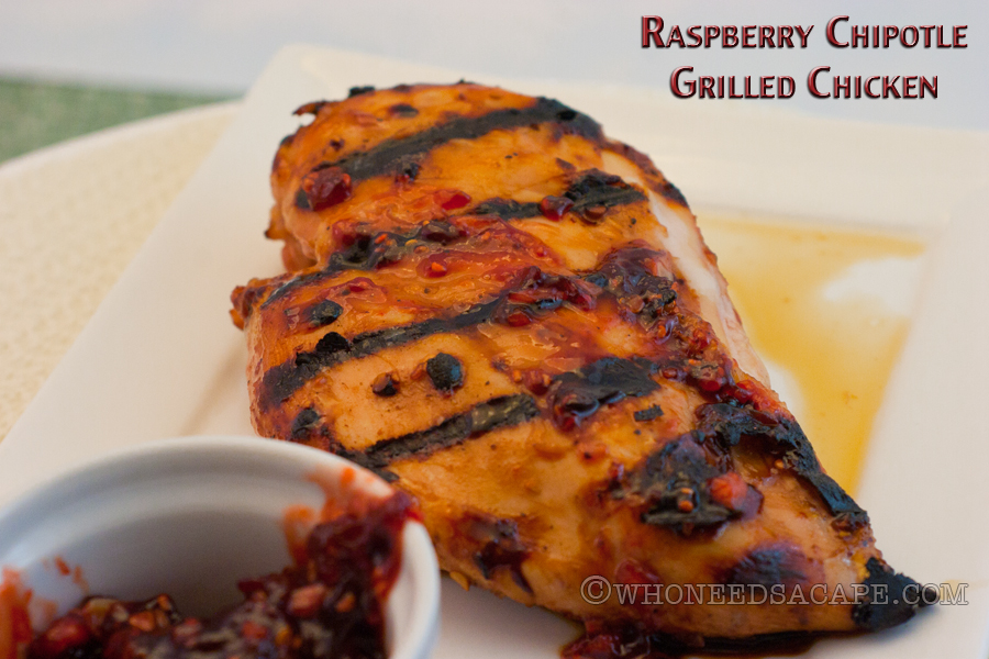 Raspberry Chipotle Grilled Chicken is a meal that screams summer grilling. Quick and easy to add extra flavor and a bit of spice to your everyday chicken. | Who Needs A Cape?