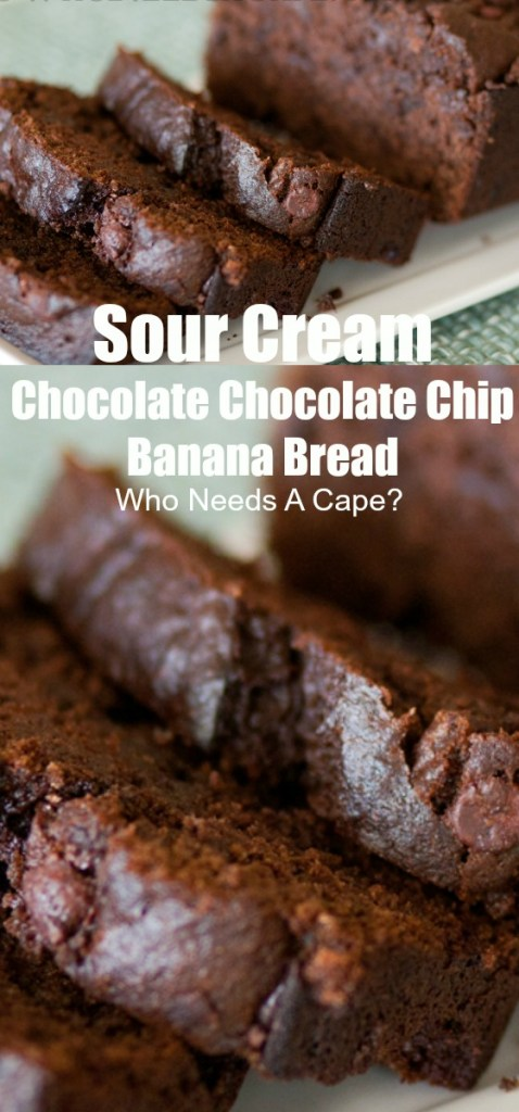 Sour Cream Chocolate Chocolate Chip Banana Bread is an easy and healthier way to get your chocolate fix! Great for dessert or an extra special breakfast!
