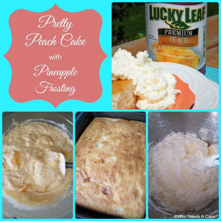 Pretty Peach Cake with Pineapple Frosting is a wonderful summer dessert, great for summer BBQ's or parties. Easy and delicious!