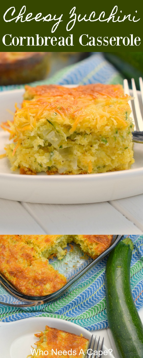 Cheesy Zucchini Cornbread Casserole is a great use of zucchini and adding a veggie to your meal. This comforting dish is easy to prepare, your family will love it.