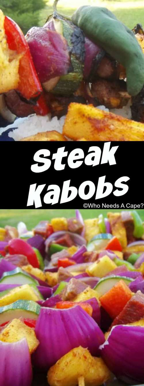 Steak Kabobs are a great summer grilling recipe. Use whatever veggies you have on hand. You can also freeze the steak ahead of time in the marinade.