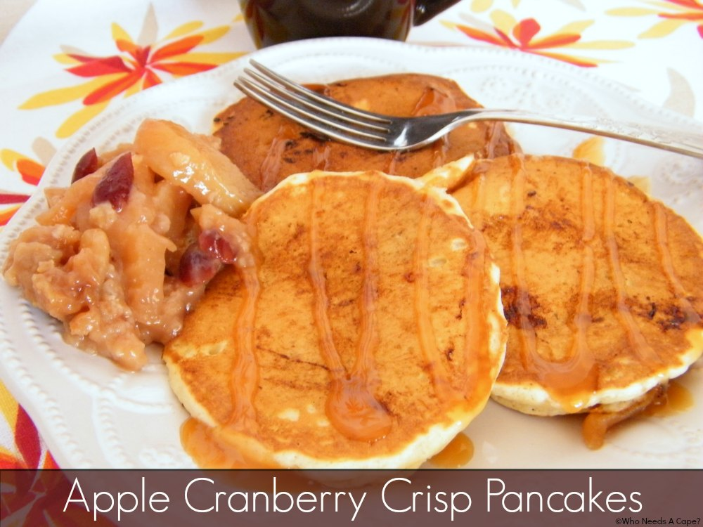 The tastes of fall come to your table in these Apple Cranberry Crisp Pancakes. Breakfast will liven up with these flavorful pancakes, you'll love them.