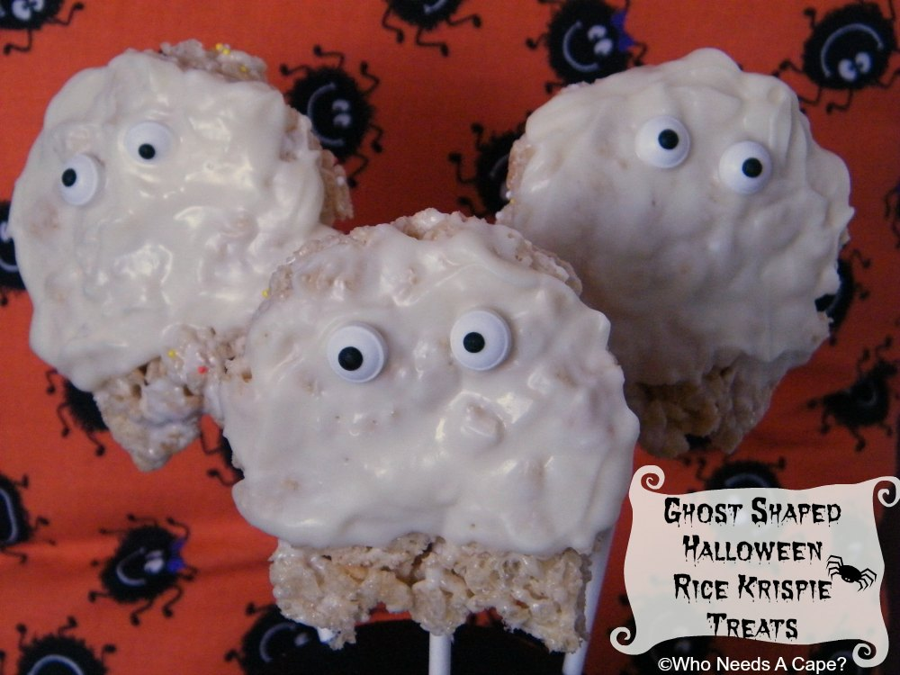 Ghost Shaped Halloween Rice Krispie Treats | Who Needs A Cape?