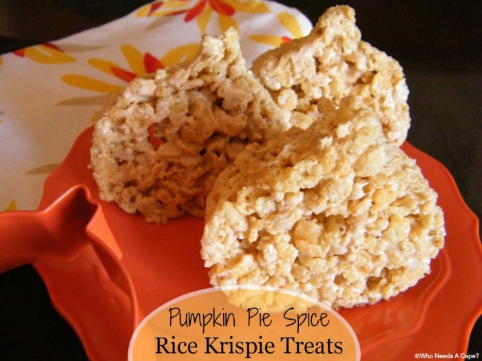 Pumpkin Pie Spice Rice Krispie Treats | Who Needs A Cape?