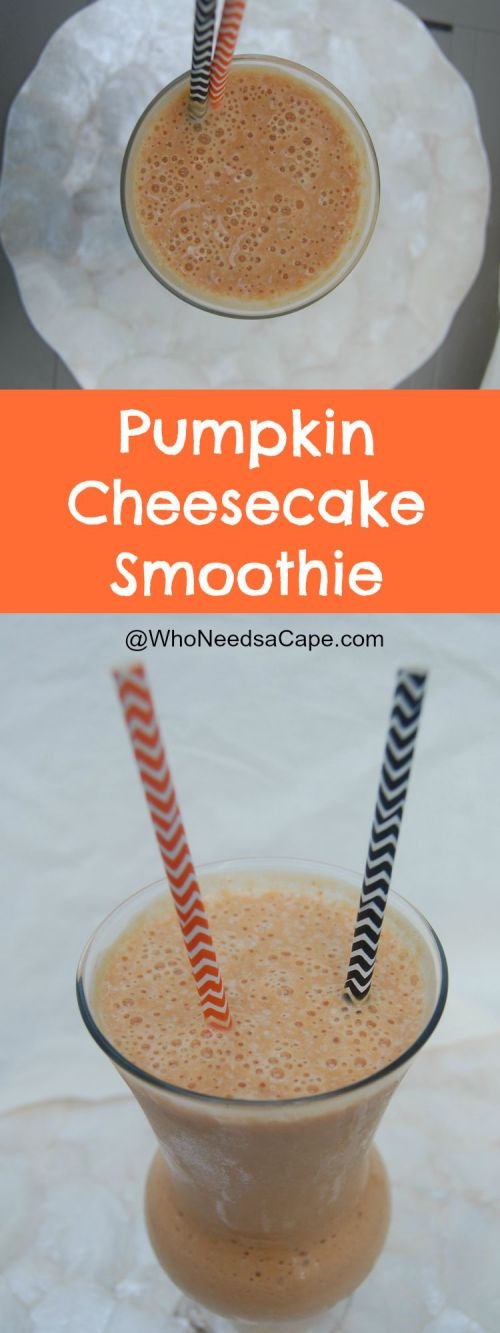 Pumpkin Cheesecake Smoothie is a great dessert drink! Get into the pumpkin flavored season by trying this smoothie today!