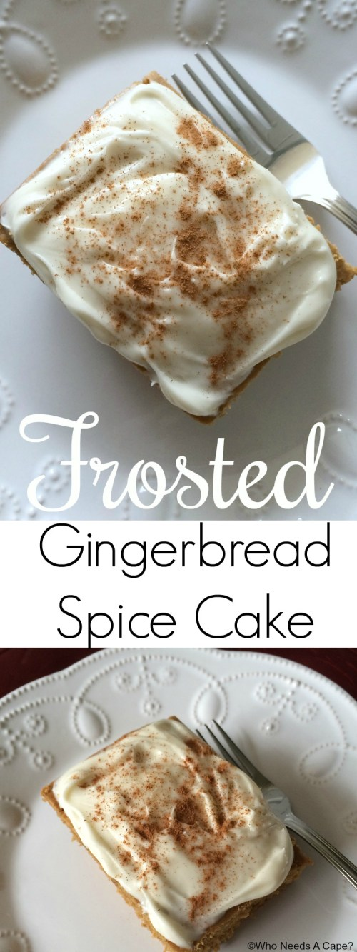 This Frosted Gingerbread Spice Cake is the perfect treat for the holiday season. With the lovely spices of gingerbread and cream cheese frosting, so good.