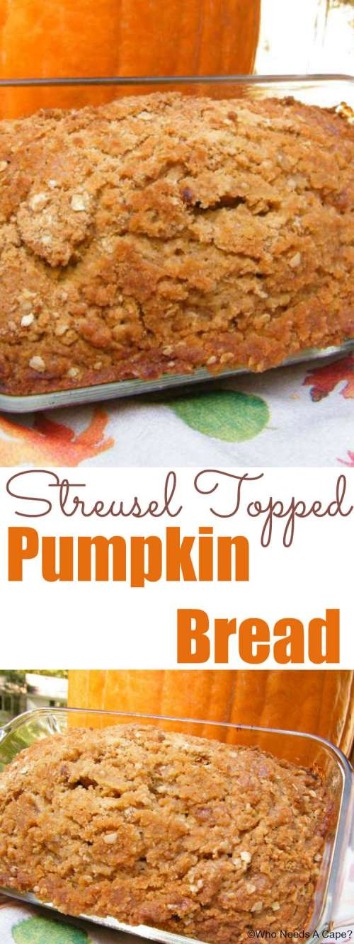This Streusel Topped Pumpkin Bread will soon be a new fall favorite! Easy to make and wonderful for breakfast, snack or dessert time!