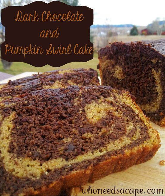 dark chocolate and pumpkin swirl cake