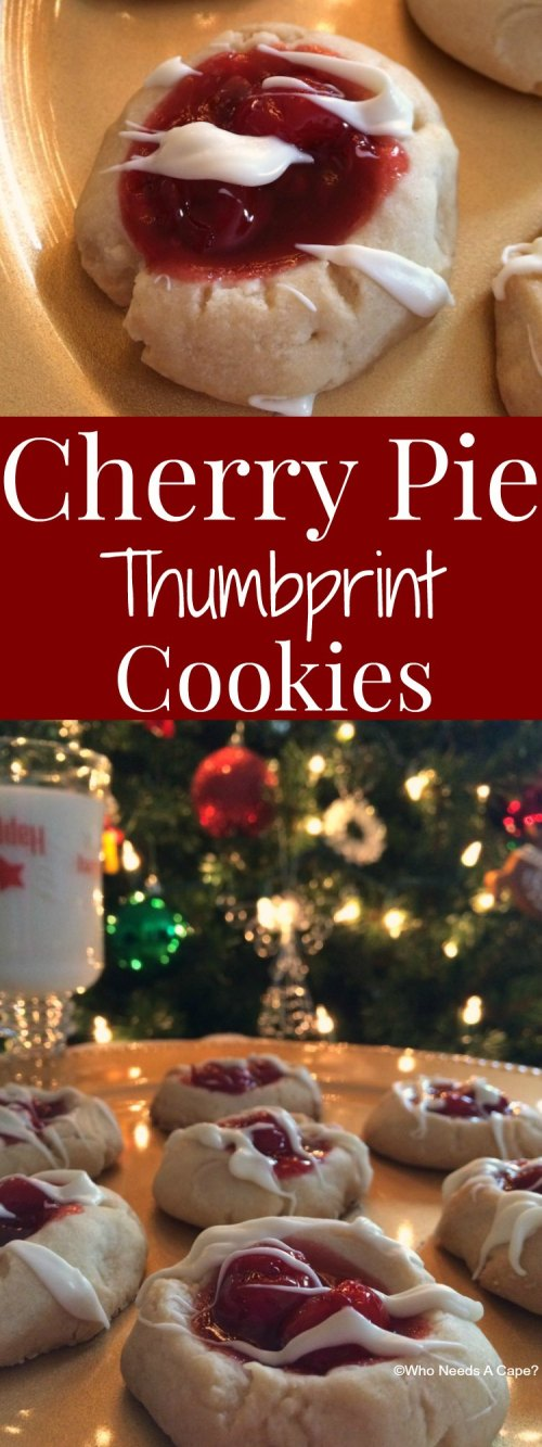 Cherry Pie Thumbprint Cookies scrumptious! A shortbread style cookie topped with Cherry Pie Filling & a drizzle of chocolate, the perfect holiday treat!