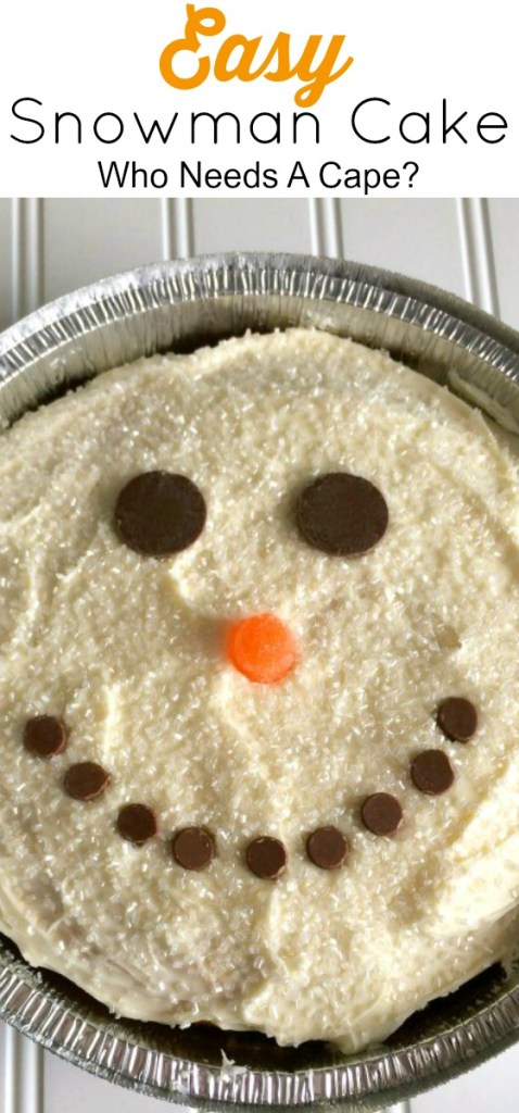 This Easy Snowman Cake is a fun dessert to make with your kids. With easy pantry items you can create a friendly winter snowman for your next party.
