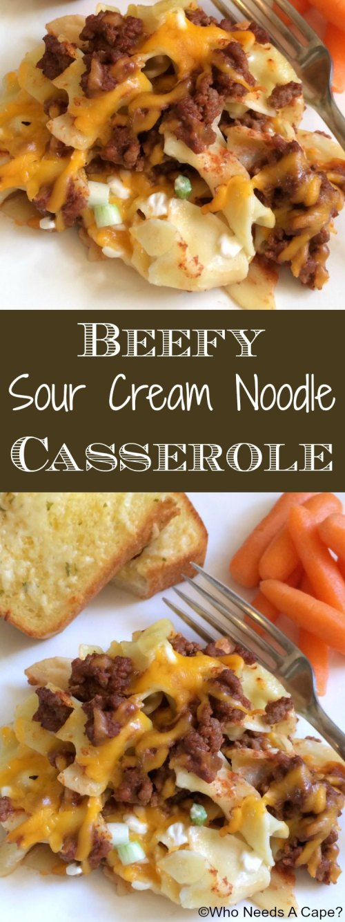 If you're looking for a family favorite casserole, look no further! Beefy Sour Cream Noodle Casserole is cheesy, beefy and oh so delicious!